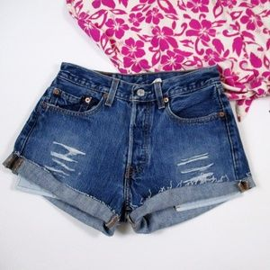 Levis 501 Button Fly Distressed Cut Off Shorts